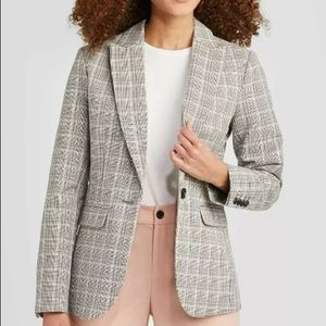 A NEW DAY Gray Plaid Long-Sleeve Blazer